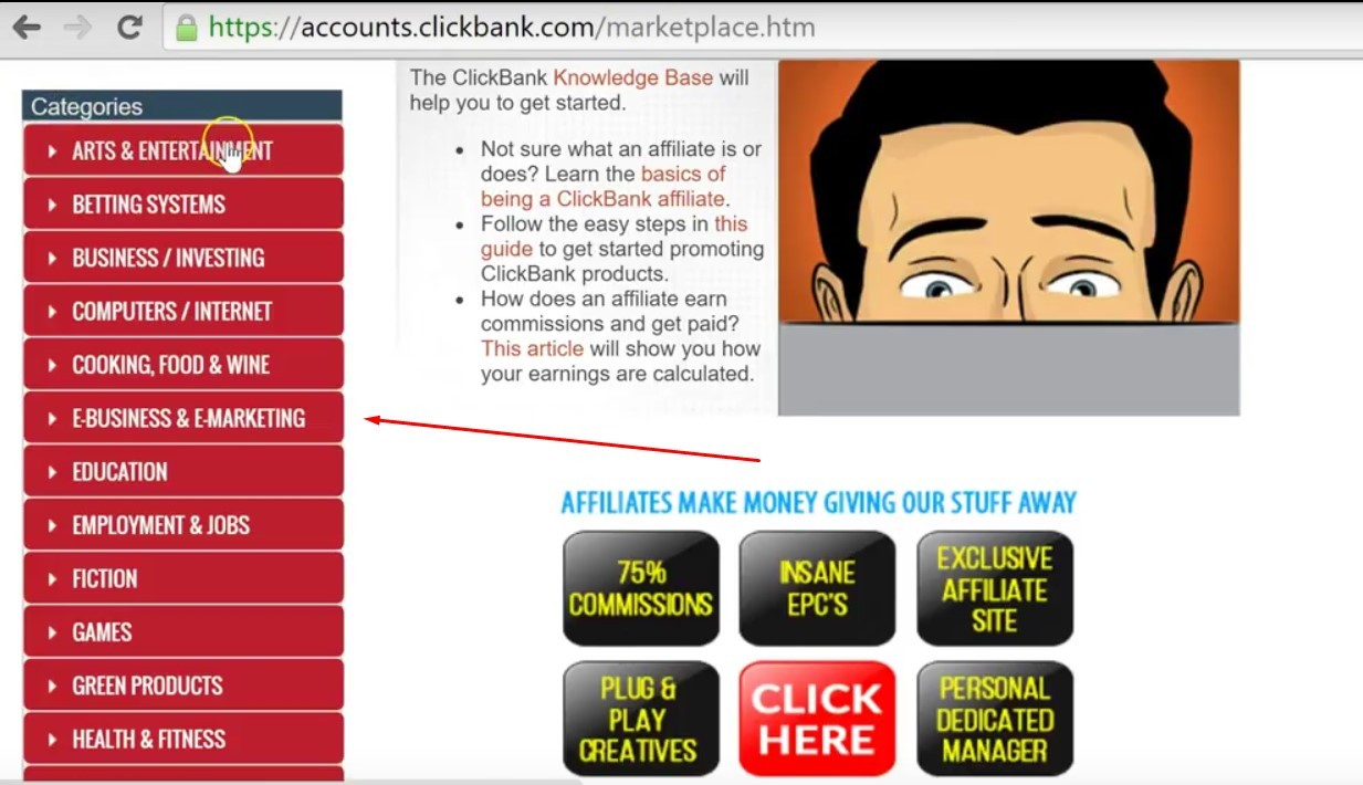 doing affiliate product research on clickbank for your niche step 2