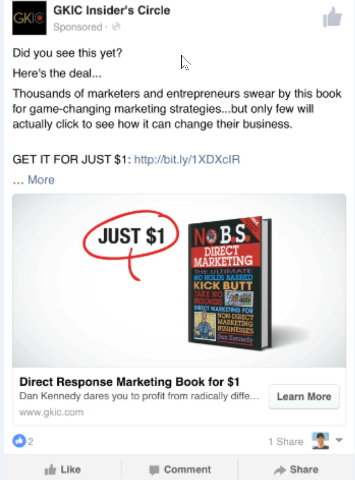 a picture of a book dan kennedy is selling in a facebook ad