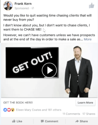 Frank kern standing in a facebook ad