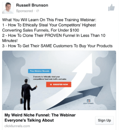 a facebook ad with a funnel man