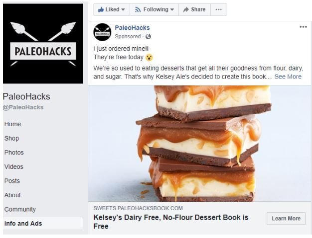 Facebook Ad Example Paleohacks