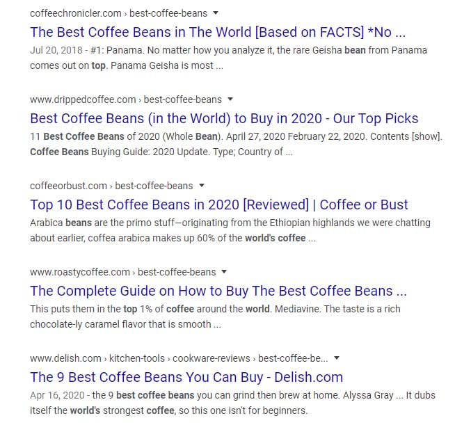 SERP results for Best Coffee Bean