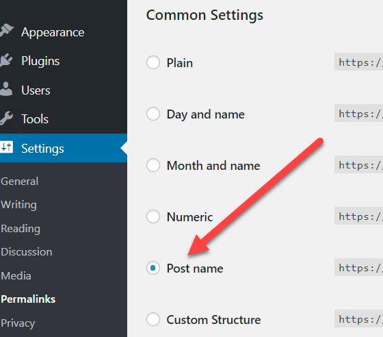 post URL settings for SEO