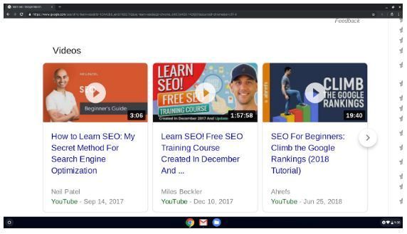 video results in the serps