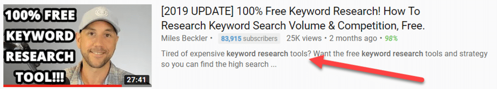 Keyword in Video Description