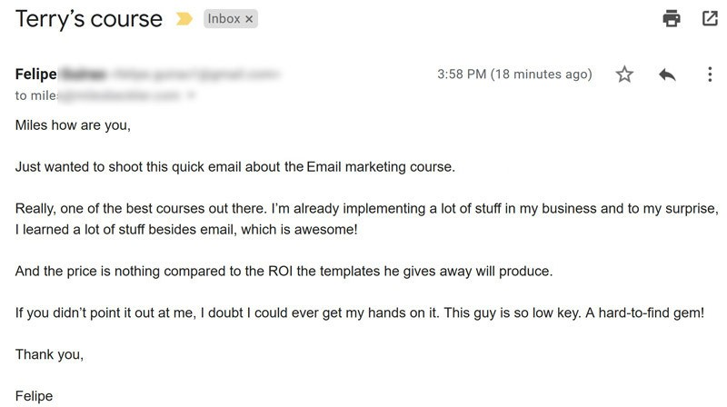Email Marketing Course testimonial