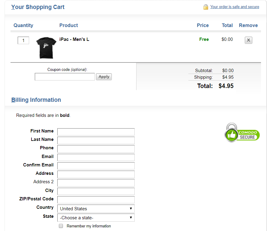 funnel checkout page