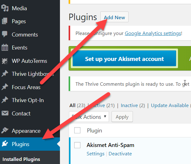 go to plugins and click add new