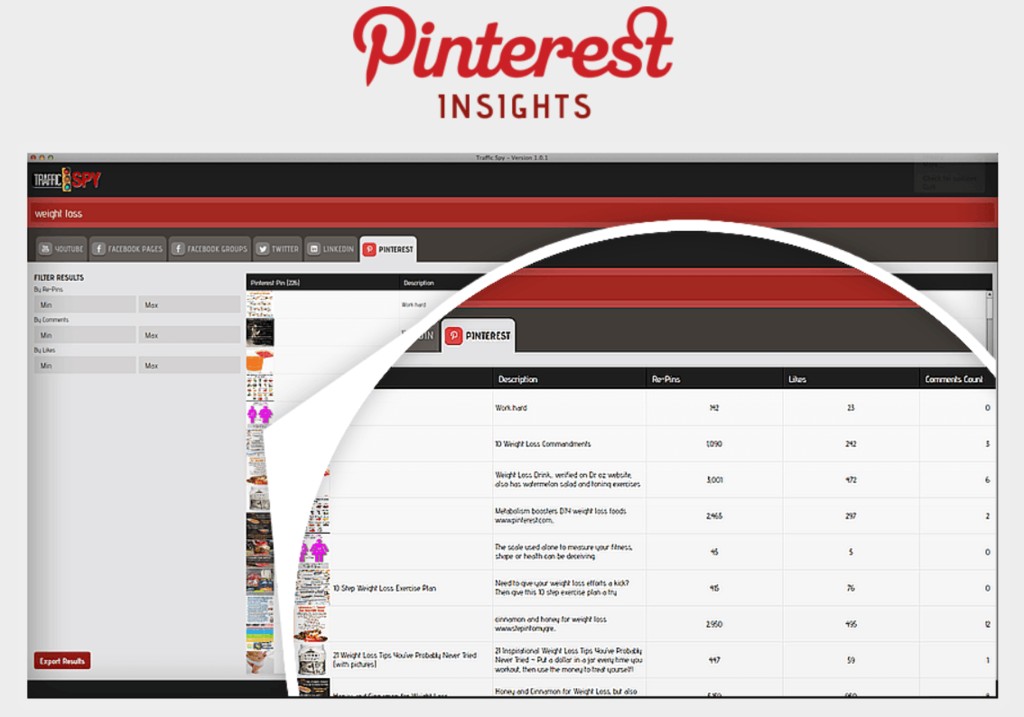 traffic spy pinterest insights
