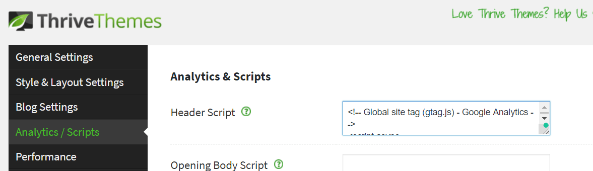 have your script and paste into website