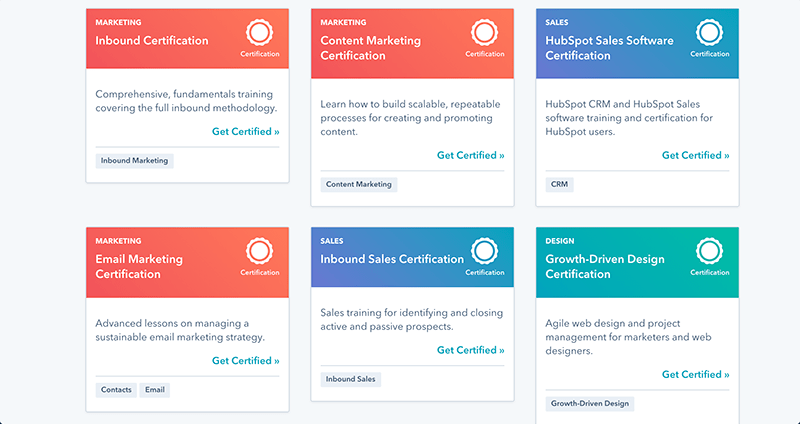 Hubspot popular certifications