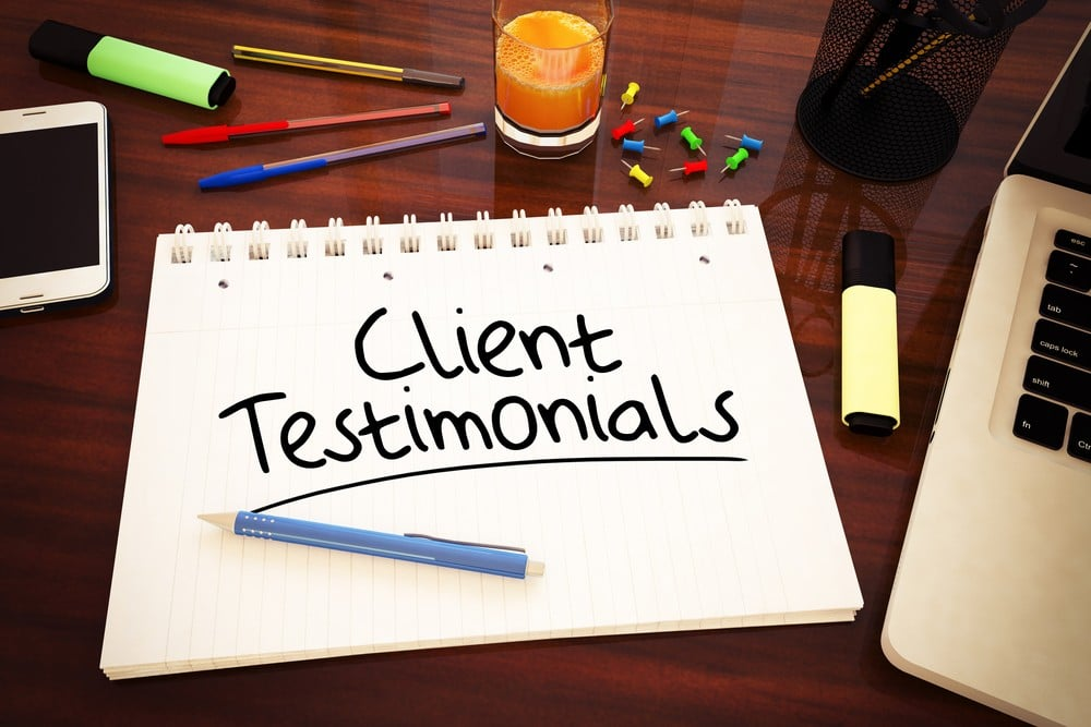 customer testimonials on a sales page