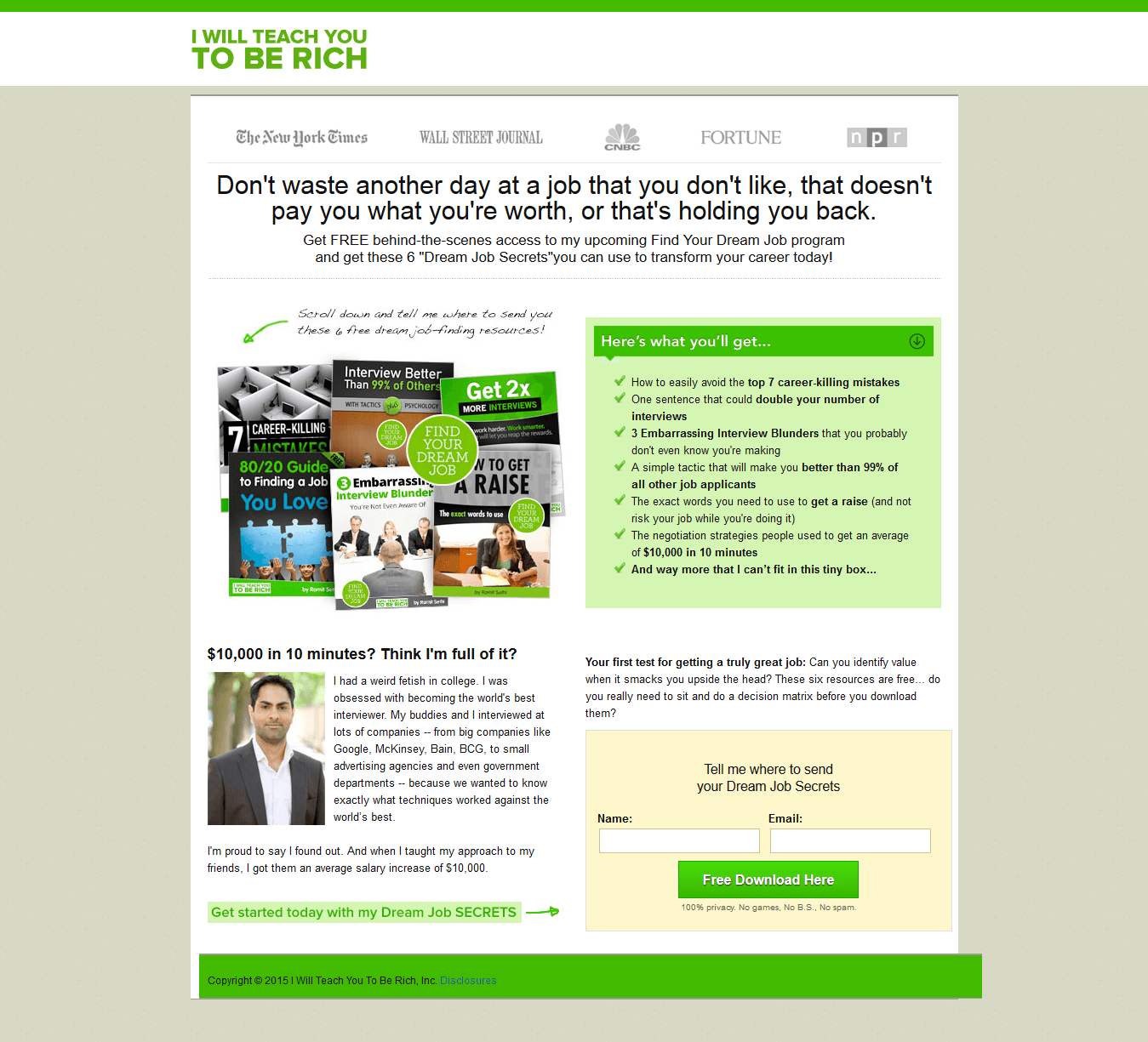 example of a sales landing page