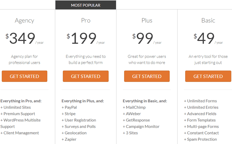 pricing example on a sample sales page