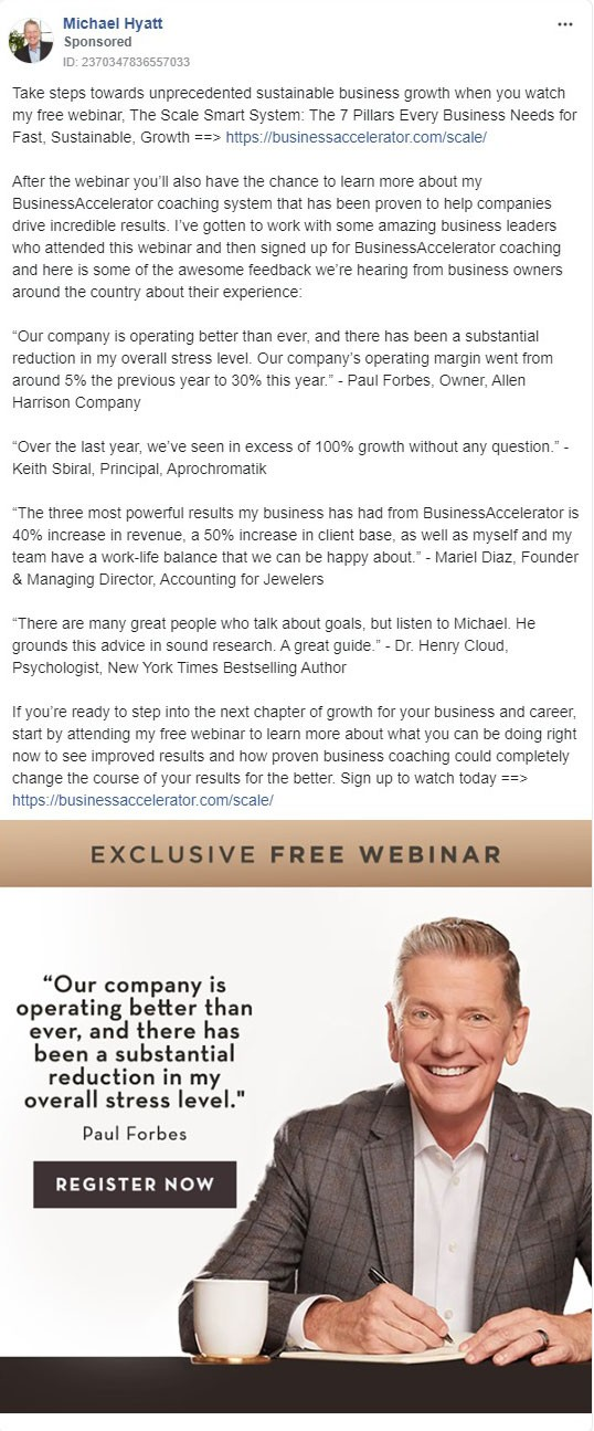 Michael Hyatt Facebook Ad