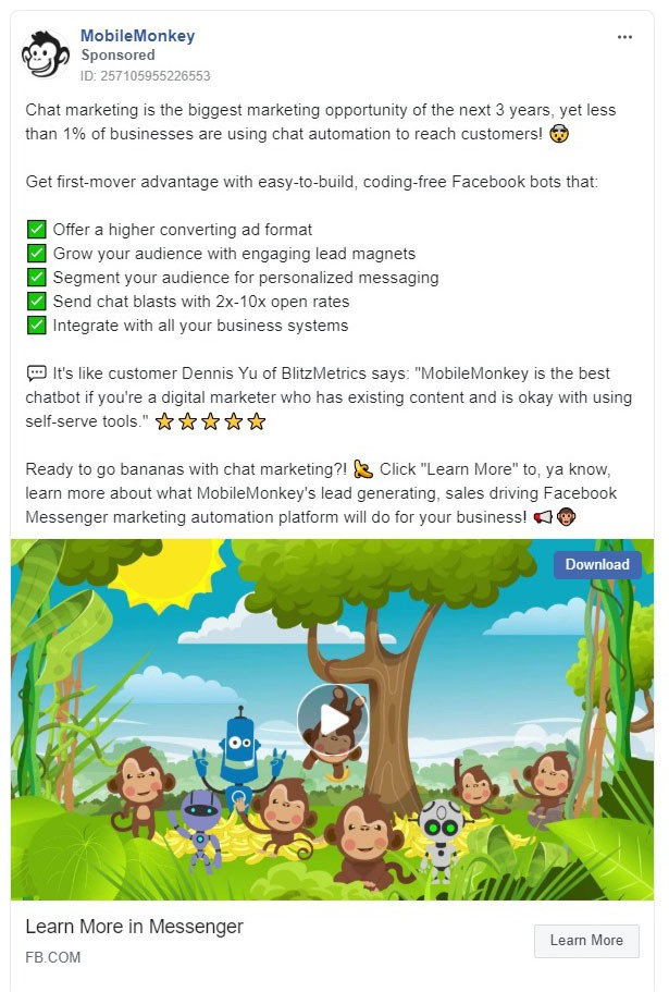 Mobile Monkey Facebook Ad