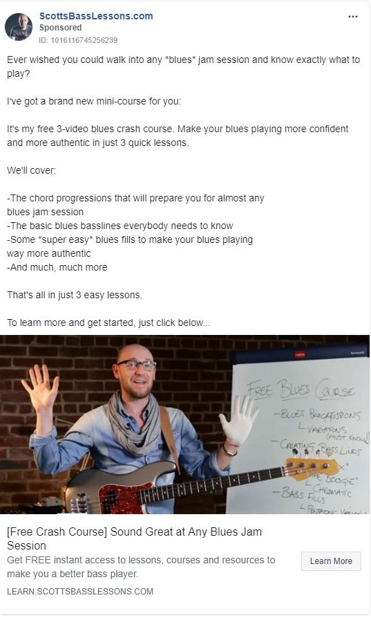 Scotts Bass Lessons.com Facebook Ad