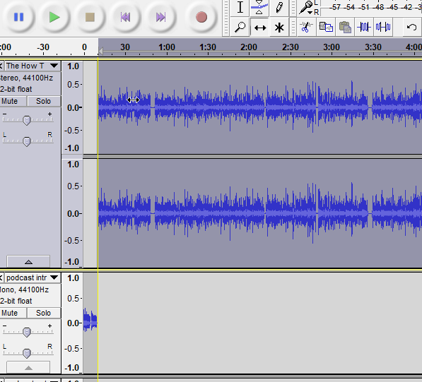 Audacity will line up both of your tracks