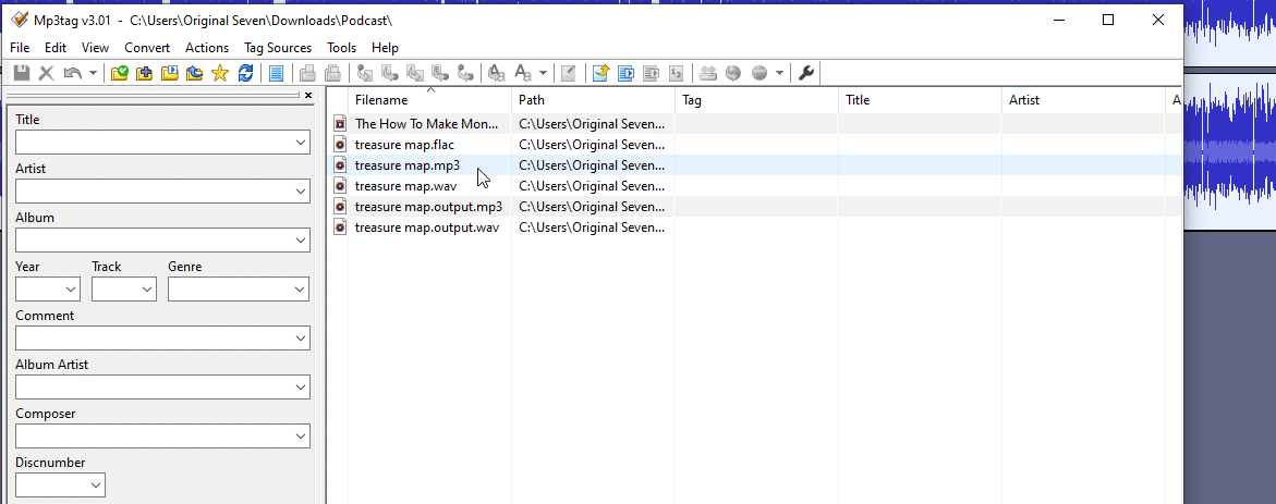 choose the directory where you saved your audio file