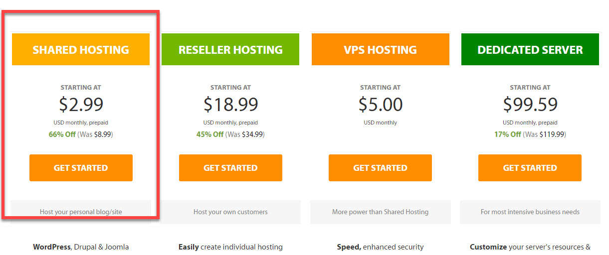 choose hosting plan