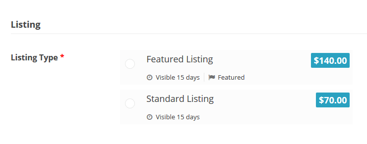 Featured Listing vs. Standard Listing