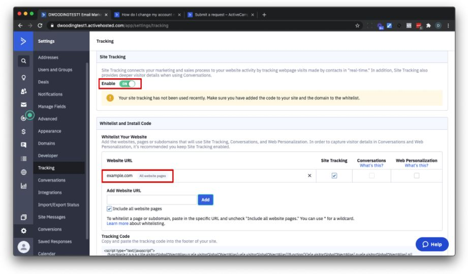 Enable site tracking