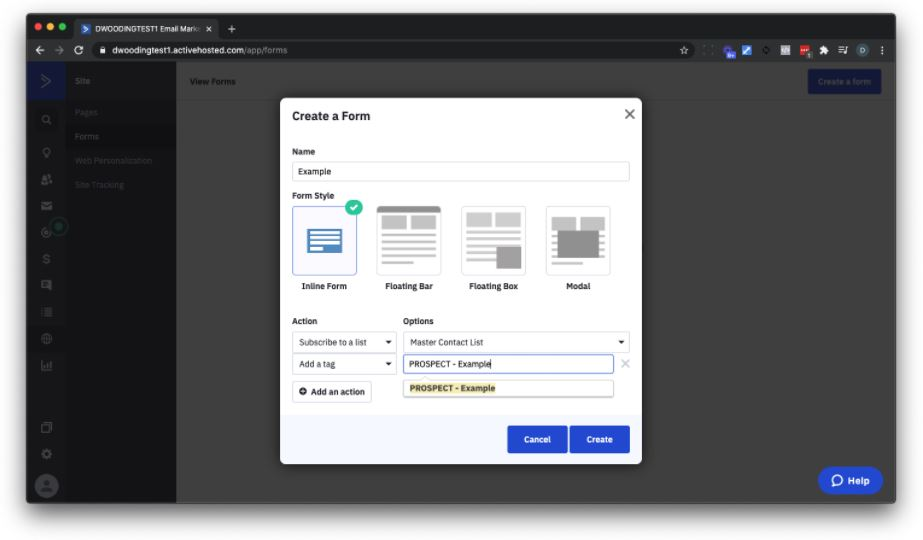 create a form to add subscribers